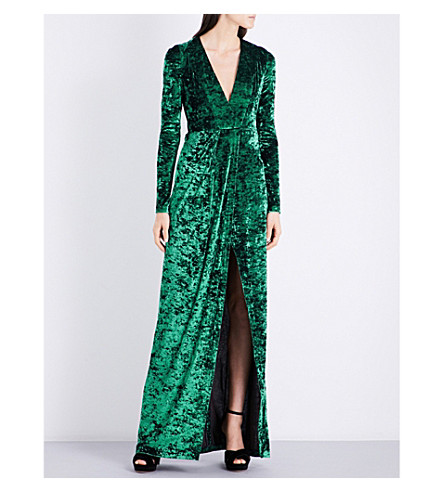GALVAN V-neck fitted hammered velvet gown (Dark+green