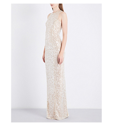 GALVAN Fitted sequinned gown (Pearl+white