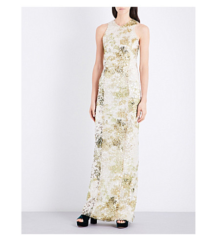 GALVAN Sequin-embellished fitted gown (White+chartreuse