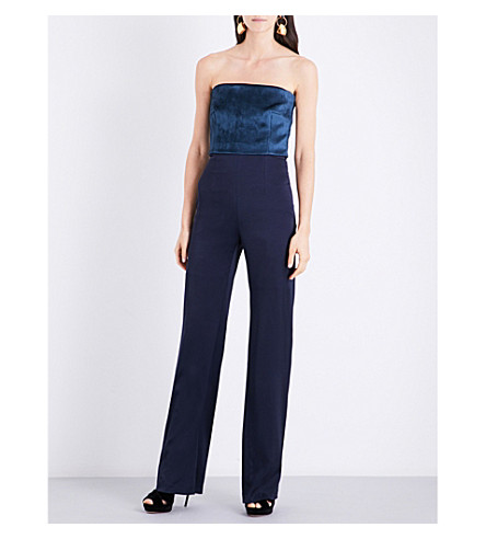 GALVAN Velvet-panel satin jumpsuit (Petrol+midnight