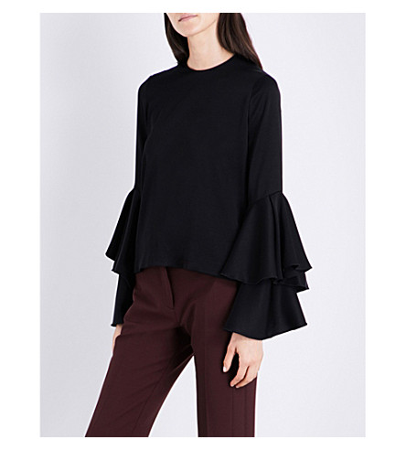 GALVAN Flared-sleeve charmeuse top (Black