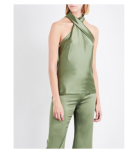 GALVAN Halterneck self-tie satin top (Olive