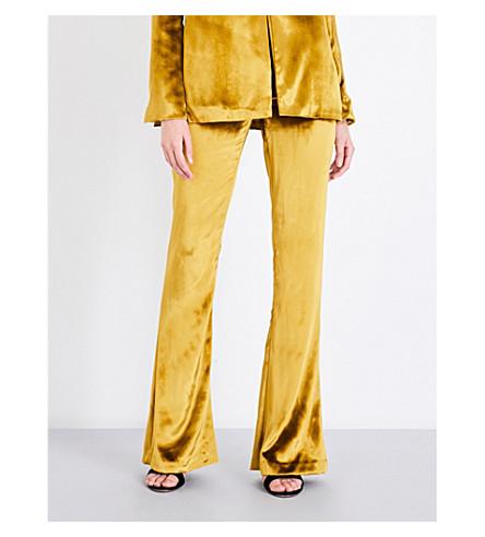GALVAN Panne flared velvet trousers (Mustard