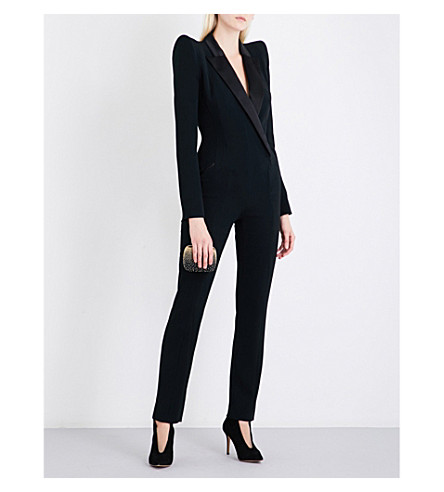 MUGLER Satin-lapel crepe tuxedo jumpsuit (Black