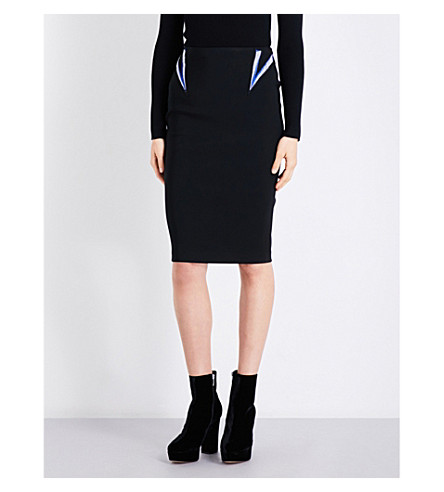 MUGLER Metallic-embroidered fitted high-rise jersey skirt (Black/blue-silver