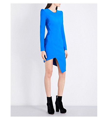 MUGLER Asymmetric fitted jersey mini dress (Electric+blue