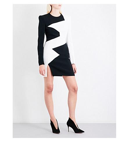 MUGLER Asymmetric star-panel fitted crepe mini dress (Black/offwhite