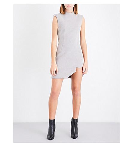 MUGLER Asymmetric fitted woven mini dress (Soft+grey