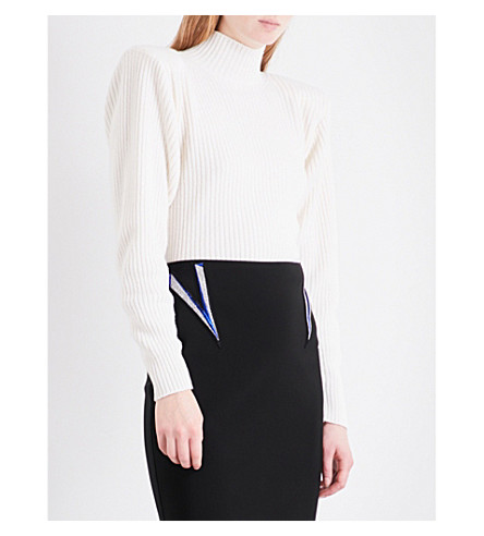 MUGLER Ribbed-knit wool and cashmere-blend jumper (Off+white
