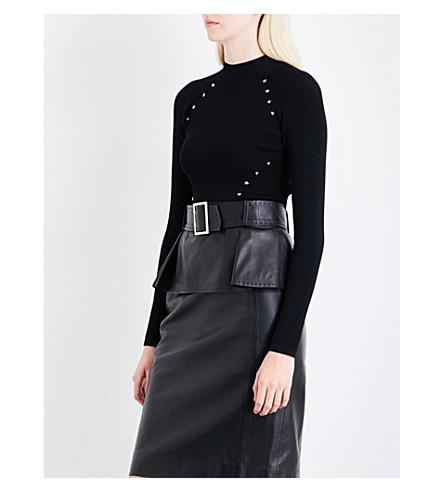 MUGLER Star stud-embellished ribbed knitted jumper (Black