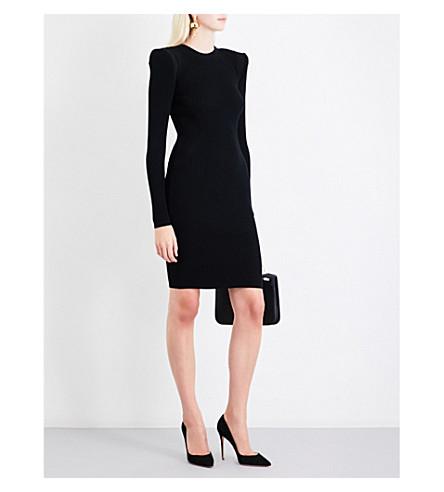 MUGLER Ribbed fitted stretch-knit mini dress (Black