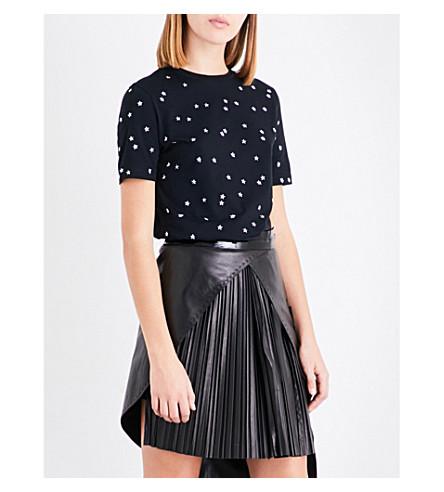 MUGLER Star stud-embellished cotton-jersey T-shirt (Black