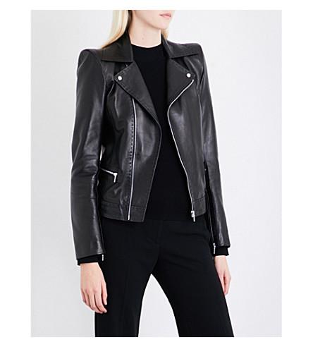 MUGLER Shoulder-padded leather jacket (Black