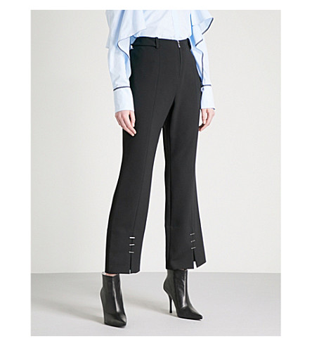 MUGLER Split-hem kick-flare crepe trousers (Black