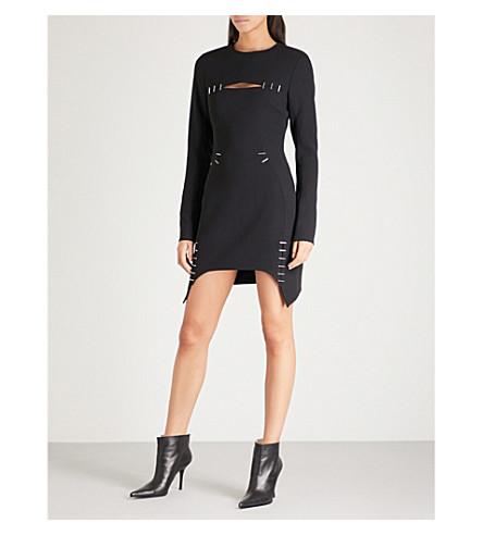 MUGLER Embellished crepe mini dress (Black