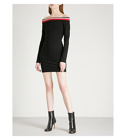 MUGLER Off-the-shoulder jersey mini dress (Black