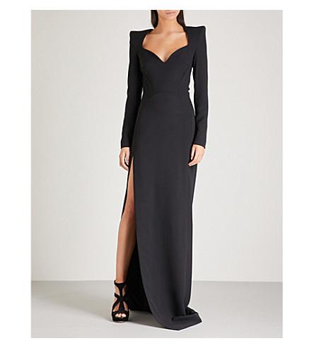 MUGLER Padded shoulder crepe gown (Black