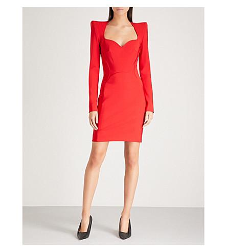 MUGLER Padded shoulder woven mini dress (Poppy