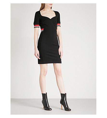 MUGLER Striped-trim jersey dress (Black