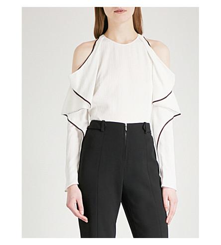 MUGLER Cold-shoulder woven shirt (Off+white