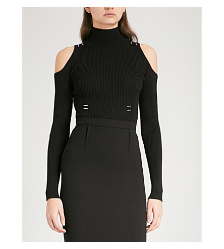 MUGLER Cold-shoulder turtleneck ribbed knitted top (Black