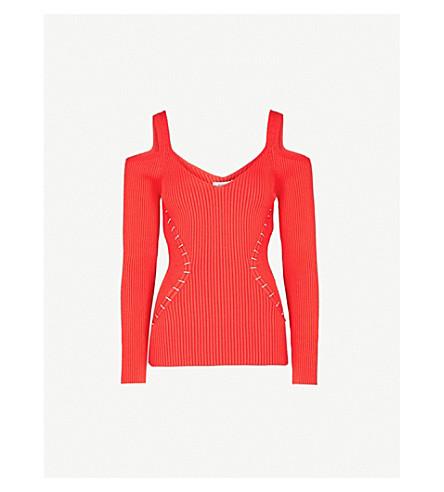 MUGLER Cold-shoulder stretch-knit top (Poppy