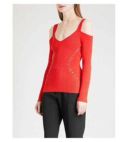 MUGLER Cold-shoulder stretch-knit top (Poppy