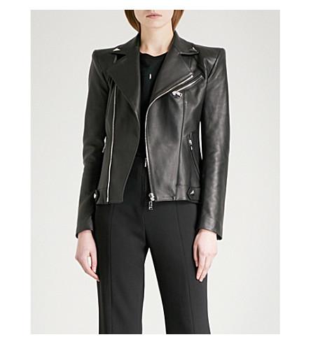 MUGLER Padded-shoulder leather jacket (Black