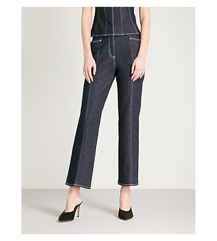 MUGLER Topstitched cropped straight high-rise jeans (Cosmos