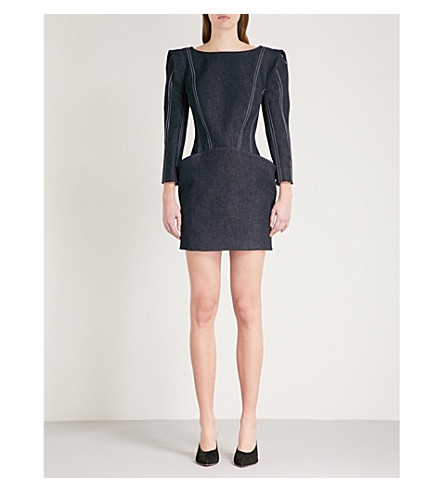 MUGLER Padded shoulder stretch-denim dress (Cosmos