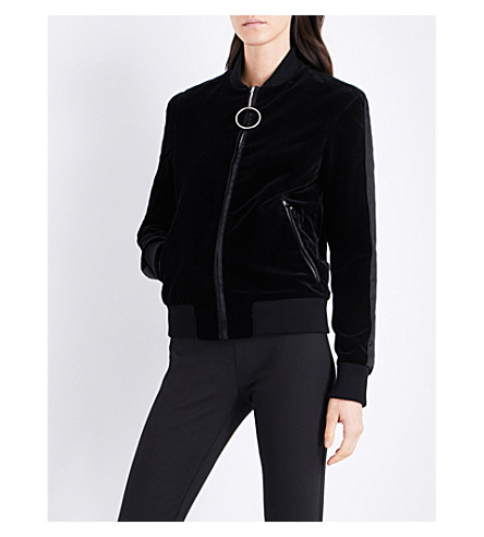 MUGLER Zip-up velvet bomber jacket (Black
