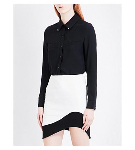 MUGLER Studded crepe shirt (Black