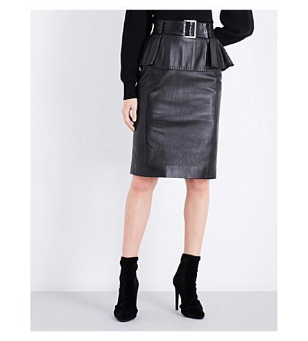 MUGLER Peplum leather skirt (Black