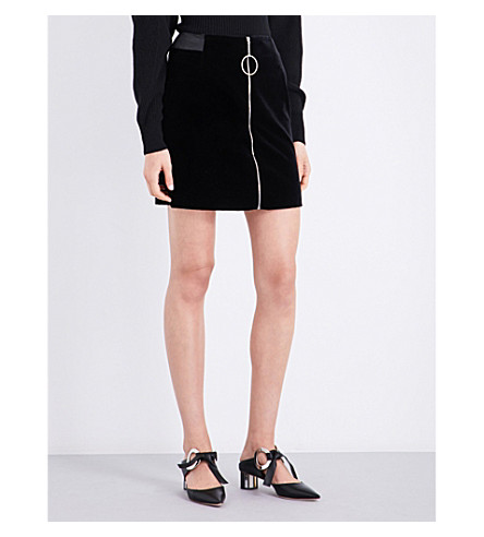 MUGLER Zip-detail velvet mini skirt (Black