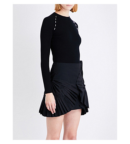 MUGLER Embellished ribbed stretch-knit top (Black