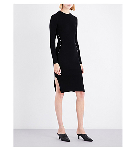MUGLER Metallic-detail stretch-knit dress (Black