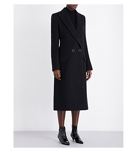 MUGLER Double-breasted wool coat (Black