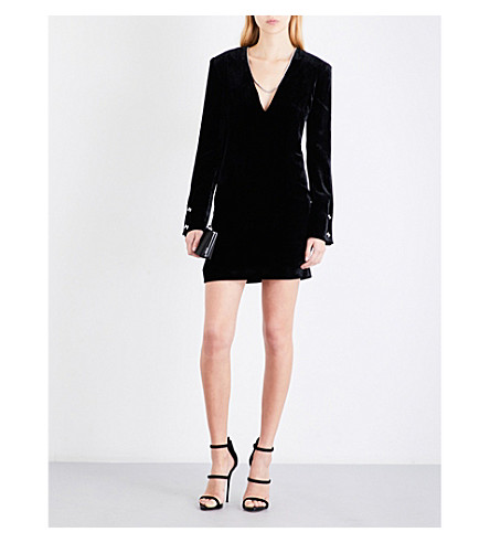 MUGLER Deep V-neck velvet mini dress (Black