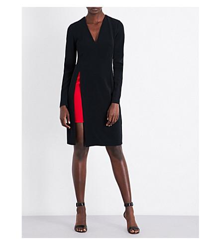 MUGLER V-neck contrast-panel crepe dress (Black/+haute+red