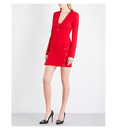MUGLER Deep V-neck jersey mini dress (Haute+red
