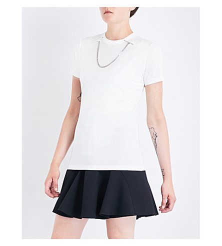 MUGLER Chain-detail cotton T-shirt (White