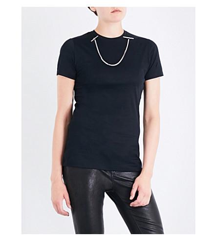 MUGLER Chain-detail cotton T-shirt (Black