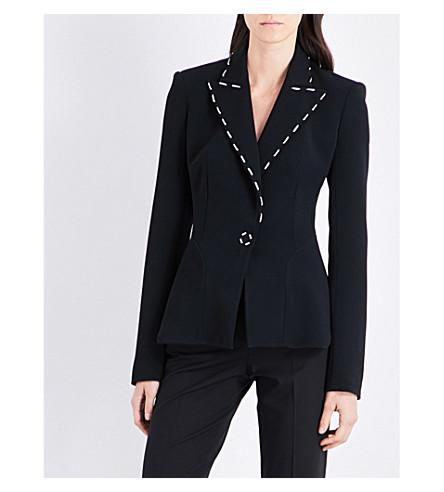 MUGLER Stitch-detailed crepe jacket (Black