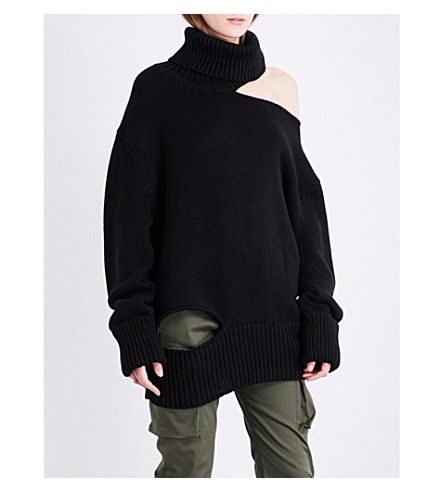 MONSE Cutout ribbed turtleneck wool jumper (Black