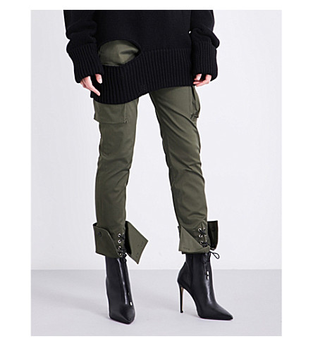 MONSE Turned-cuff straight mid-rise cotton-blend cargo trousers (Cargo