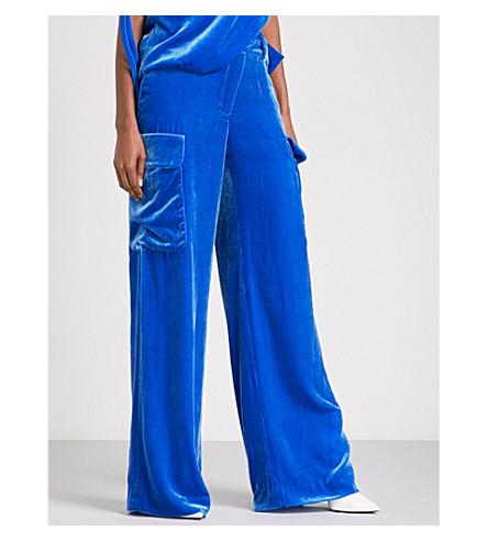 MONSE Wide mid-rise velvet trousers (Blue