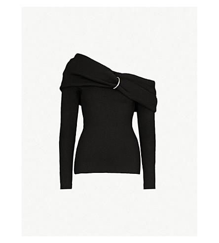MONSE One-shoulder knitted jumper (Black
