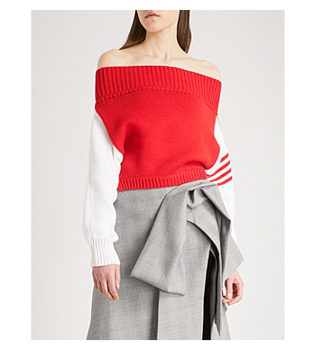 MONSE Off-the-shoulder wool jumper (Red/white