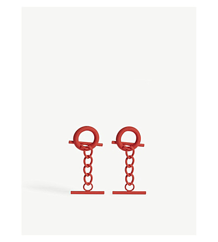 MONSE Hoop and chain short stud earrings (Red