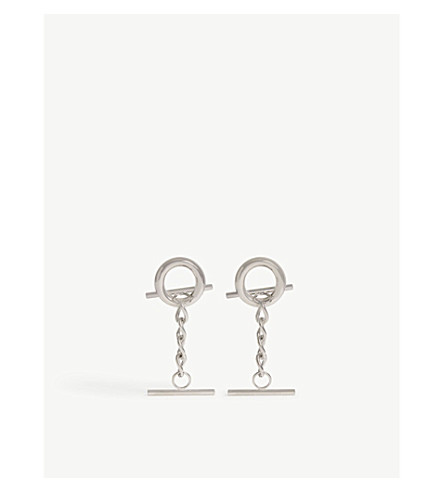 MONSE Hoop and chain short stud earrings (Silver